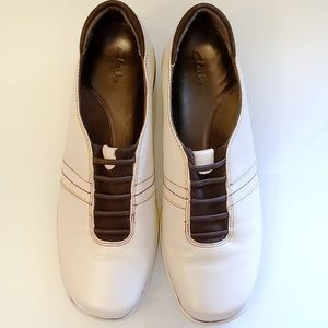 Shoes - Clarks Slip On Ivory Leather Loafer